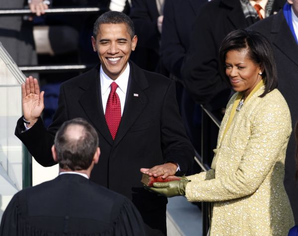 Barack Obama takes the Oath of Office as the 44th President of the United States as he is sworn in by U