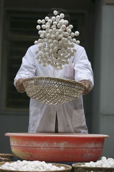 A worker makes glutinous rice balls, a typical food for the Lantern Festival, at a workshop in Nanjing, Jiangsu province February 5, 2009. The Lantern Festival is the last day of the Chinese New Year and falls on February 9 this year. REUTERS/Jeff Xu