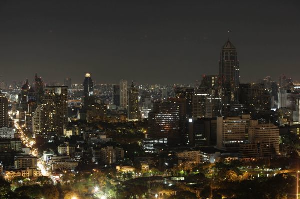 The Bangkok skyline is pictured during Earth Hour March 28, 2009