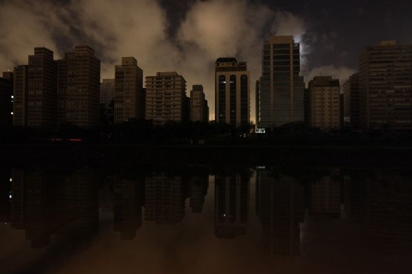 Dark buildings are seen during a blackout in Sao Paulo November 11, 2009