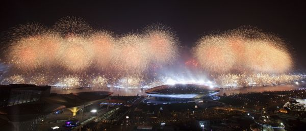 Fireworks explode above the Expo performance centre during the opening ceremony of the Shanghai World Expo in Shanghai April 30, 2010