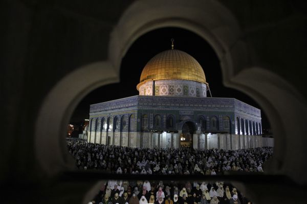 Muslim women pray during Laylat al-Qadr in front of the Dome of the Rock, on the compound known to Muslims as al-Haram al-Sharif (Noble Sanctuary) and to Jews as Temple Mount, in Jerusalem's Old City during the Muslim holy month of Ramadan September 5