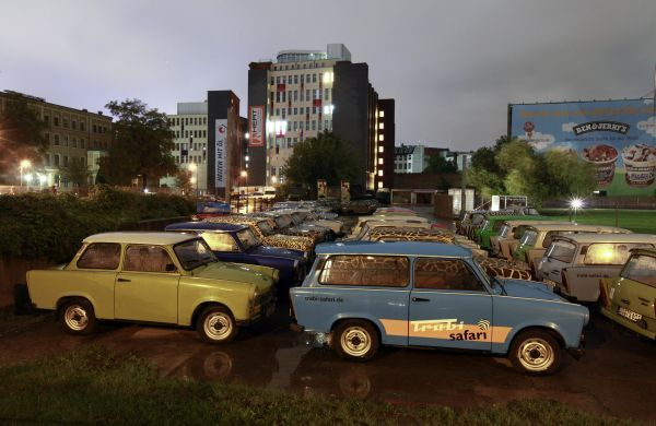 East German Trabant cars used for guided city tours are pictured at a parking lot in Berlin September 14, 2010