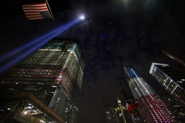 "The ""Tribute in Lights"" in is seen over the World Trade Center site in Manhattan in New York September 10, 2011. New York will mark the 10th anniversary of the 9/11 attacks on the World Trade Center with ceremonies on Sunday. REUTERS/Eric Thayer"