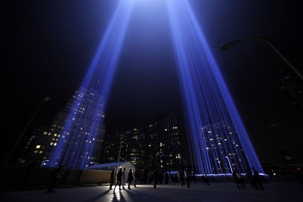 "The ""Tribute in Lights"" is seen in lower Manhattan on the 10th anniversary of the 9/11 attacks on the World Trade Center, in New York September 11, 2011"