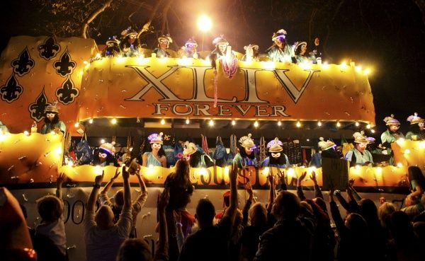 "The Krewe of Muses celebrate the Saints with the ""Forever XLIV"" float in New Orleans, Louisiana February 16, 2012"