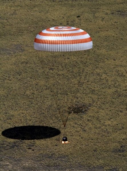 The Soyuz TMA-03M capsule, carrying International Space Station (ISS) crew members Expedition 31 Commander Oleg Kononenko of Roscosmos, Flight Engineers Don Pettit of NASA and Andre Kuipers of the European Space Agency, lands in a remote area