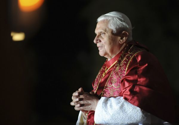 Pope Benedict XVI speaks at the end of the Marian Procession of Light at the Rosary Basilica (Basilique Notre-Dame du Rosaire) on September 13, 2008 in the Sanctuary of Lourdes