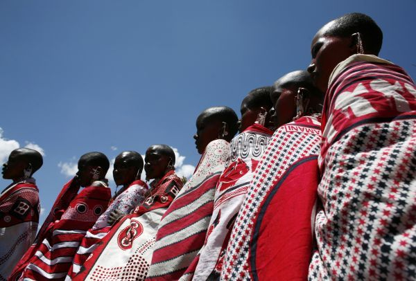 Maasai women form a line to be blessed by the elders during Emayian o nkituaak (blessing of women), a rare fertility ceremony in Kisokon village, southwest Nairobi September 28, 2008