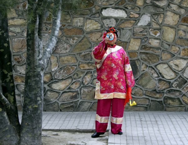 A performer, wearing a traditional costume from the Qing Dynasty, checks her make-up using a small mirror before a show at the Summer Palace temple fair celebrating Chinese New Year in Beijing January 27, 2009