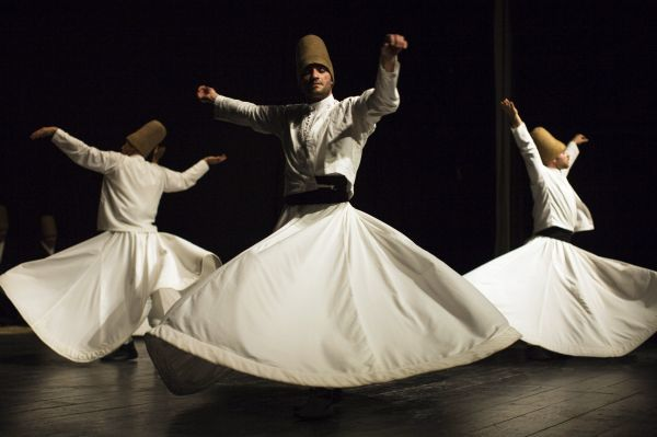 Whirling dervishes spin during a Sema ceremony in Istanbul, April 5, 2009