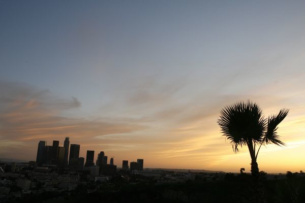The skyline of downtown Los Angeles is pictured at sunset in this March 3, 2009 file photo