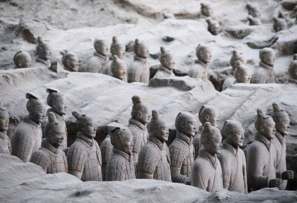 Hundreds of Terracotta warriors, which were unearthed during the first excavation from 1978 to 1984, stand inside the No