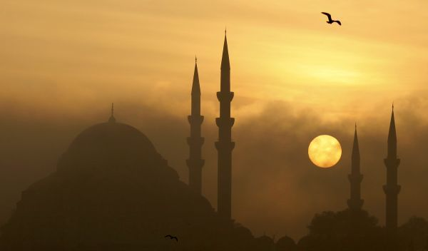 The Ottoman era Suleymaniye mosque is covered by fog as the sun sets in Istanbul, November 25, 2009. REUTERS/Murad Sezer (TURKEY ENVIRONMENT CITYSCAPE)