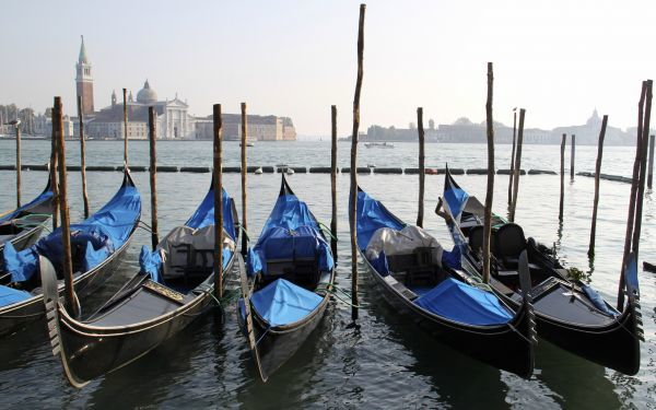 Gondolas are seen berthed in the waters of Venice November 1, 2009. REUTERS/Sharon Lee (ITALY - Tags: CITYSCAPE TRANSPORT TRAVEL)