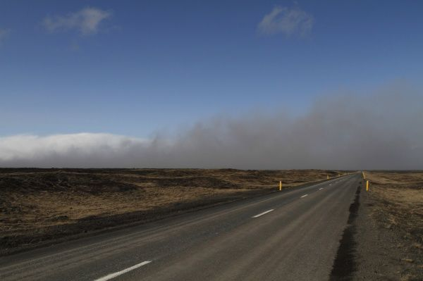 Ash is seen at Myrdalssandur on Highway 1 in southern Iceland April 16, 2010. An Icelandic volcano is still spewing ash into the air in a massive plume that has disrupted air traffic across Europe and shows little sign of letting up, officials said on Friday