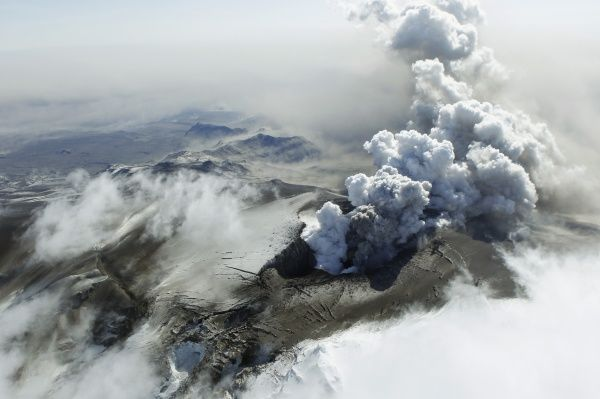 Steam, rocks and ash are thrown out of Iceland's Eyjafjallajokull volcano April 19, 2010