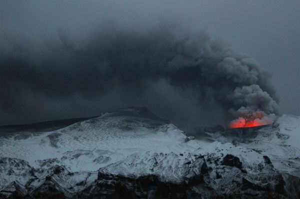 Smoke rises from a volcano as it erupts near Eyjafjallajokull April 19, 2010