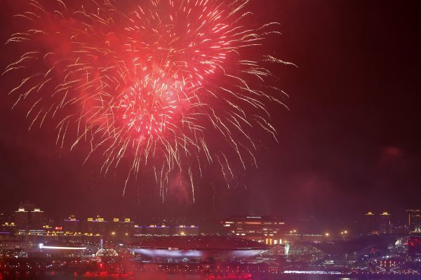 Fireworks explode over the Shanghai World Expo site during a rehearsal for its opening ceremony April 27, 2010