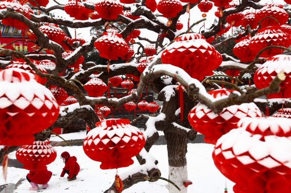 Children play under a tree with snow-covered decorative red lanterns after a snowfall in Beijing, February 10, 2011