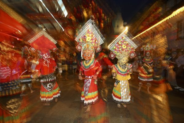 "Masked dancers perform a traditional deity's dance on the first day of the Indra Jatra festival in Kathmandu September 9, 2011. Named after Lord Indra, the colourful week-long festival begins on Friday after the erection of the ""lingo&quot"