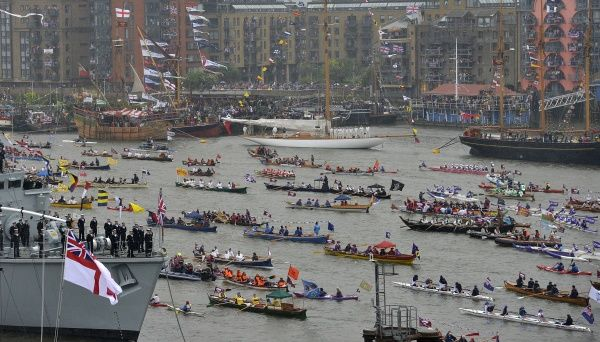 Boats take part in Queen Elizabeth's Diamond Jubilee pageant on the River Thames in London June 3, 2012