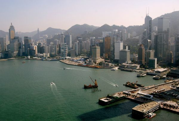 An aerial view of the Hong Kong skyline over the Victoria Harbour November 3, 2003